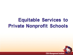 Equitable Services to Private Nonprofit Schools