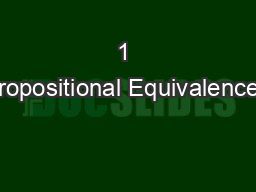 1 Propositional Equivalences PowerPoint PPT Presentation