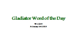 Gladiator Word of the Day