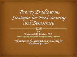 Poverty Eradication Strategies for Food Security and Democr