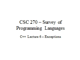 CSC 270 – Survey of Programming Languages PowerPoint PPT Presentation