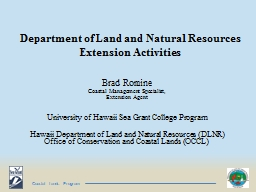 Department of Land and Natural Resources Extension Activiti