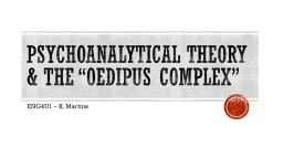 "Psychoanalytical Theory & The ""Oedipus Complex"""