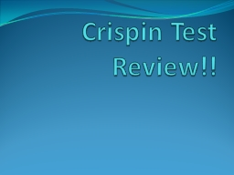 Crispin Test Review!!