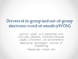 Drivers of in-group and out-of-group electronic word-of-mou PowerPoint PPT Presentation