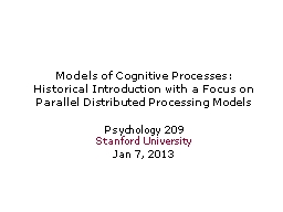 Models of Cognitive Processes: PowerPoint PPT Presentation
