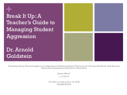 Break It Up: A Teacher�s Guide to Managing Student Aggres