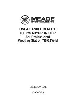 FIVECHANNEL REMOTE THERMOHYGROMETER For Professional Weather Station TEWM USER MANUAL TSCM  TABLE OF CONTENTS INTRODUCTION  STANDARD PACKAGE CONTENTS  INSTALLATION  BEFORE YOU BEGIN  FEATURES  TROUBL