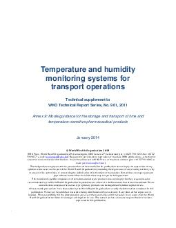 WHO Vaccine Temperature and humidity monitoring systems for transport operations Technical supplement to WHO Technical Report Series No