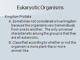 Eukaryotic Organisms PowerPoint PPT Presentation