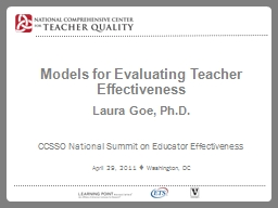 Models for Evaluating Teacher Effectiveness PowerPoint PPT Presentation