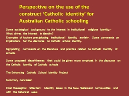 Perspective on the use of the construct 'Catholic identit