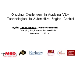 Ongoing Challenges in Applying V&V Technologies to Auto