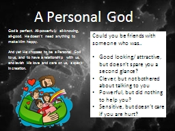 A Personal God PowerPoint PPT Presentation