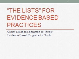 """The Lists"" For Evidence based practices"