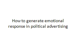 How to generate emotional response in political advertising PowerPoint PPT Presentation