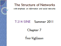 The Structure of Networks PowerPoint PPT Presentation