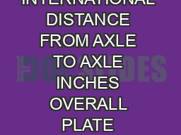 SUREGRIP INTERNATIONAL DISTANCE FROM AXLE TO AXLE INCHES OVERALL PLATE LENGTH PL PDF document - DocSlides
