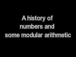 A history of numbers and some modular arithmetic