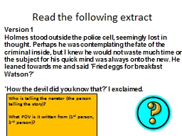 Read the following extract