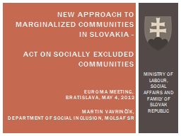 New approach to marginalized communities in Slovakia -