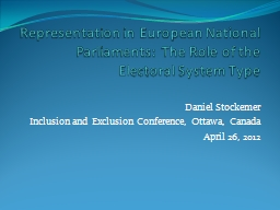 Representation in European National Parliaments: The Role o