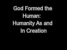 God Formed the Human:  Humanity As and In Creation