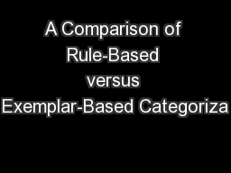 A Comparison of Rule-Based versus Exemplar-Based Categoriza PowerPoint PPT Presentation