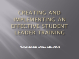 Creating and implementing an effective Student Leader Train PowerPoint PPT Presentation