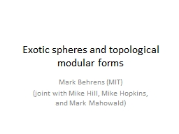 Exotic spheres and topological modular forms