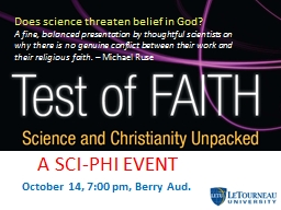 October 14, 7:00 pm, Berry Aud. PowerPoint PPT Presentation
