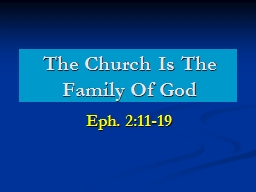 The Church Is The Family Of God PowerPoint PPT Presentation