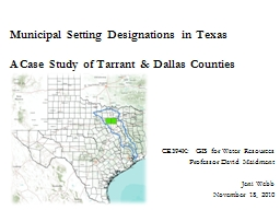 Municipal Setting Designations in Texas