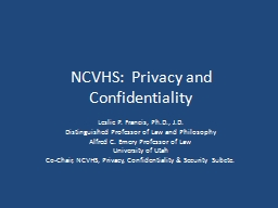 NCVHS:  Privacy and Confidentiality