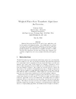 Weighted FiniteState Transducer Algorithms An Overview Mehryar Mohri ATT Labs  Research Shannon Laboratory  Park Avenue Florham Park NJ  USA mohriresearch