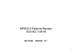 MPEG-2 Patents Review