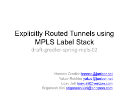 Explicitly Routed Tunnels using MPLS Label