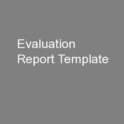 Evaluation Report Template
