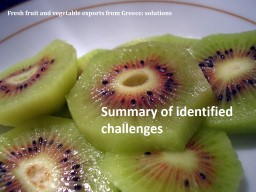 Fresh fruit and vegetable exports from Greece: