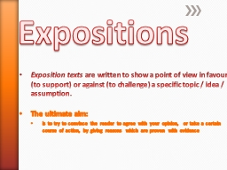 Expositions PowerPoint PPT Presentation