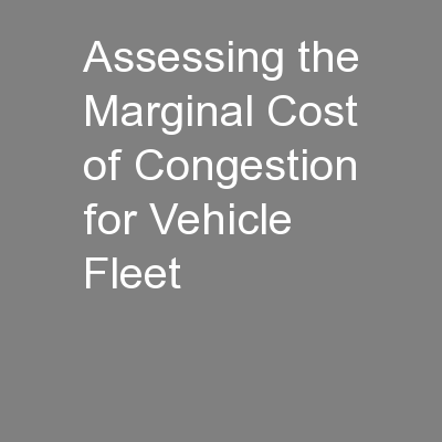 Assessing the Marginal Cost of Congestion for Vehicle Fleet