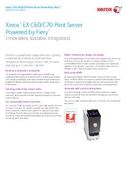 Xerox EX C60/C70 Print Server Powered by FieryInnovative, scalable, in