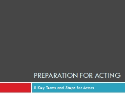 Preparation for Acting