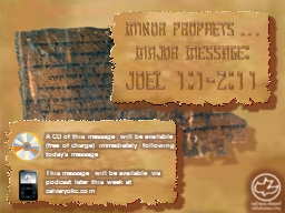 Minor Prophets … Major Message: PowerPoint PPT Presentation