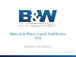 Babcock & Wilcox Cost & Yield Review