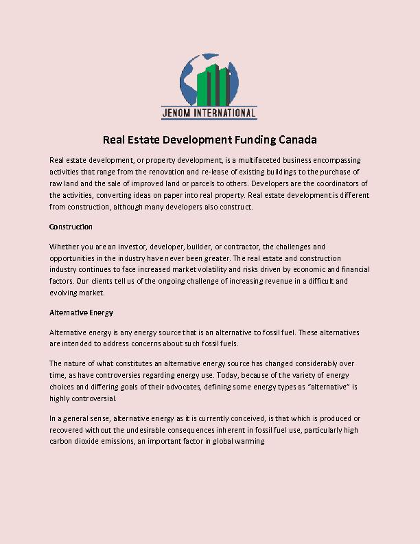 Real Estate Development Funding Canada PowerPoint PPT Presentation