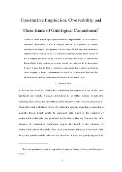 Constructive Empiricism Observability and Three Kinds of Ontological Commitment BSTRACT