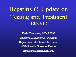 Hepatitis C: Update on Testing and Treatment