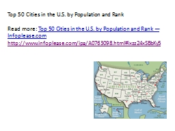 Top 50 Cities in the U.S. by Population and Rank