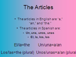 The Articles PowerPoint PPT Presentation